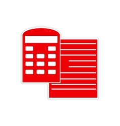 Stylish sticker on paper documents and calculator vector