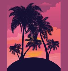 Sunrise tropical island vector