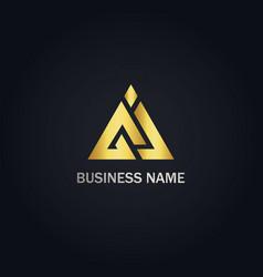 triangle shape line business logo vector image