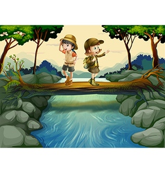 Two kids crossing the river vector image