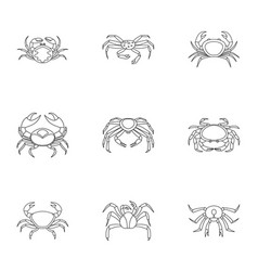 Underwater crab icons set outline style vector