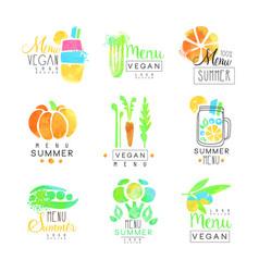Vegan menu set for logo design collection of vector