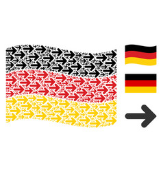 Waving germany flag collage of right arrow icons vector
