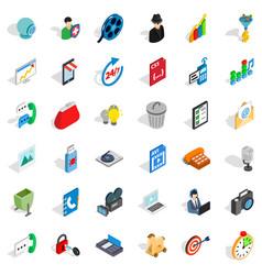 Web money icons set isometric style vector
