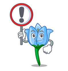 with sign bell flower character cartoon vector image