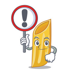 With sign penne pasta character cartoon vector