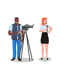 Woman journalist with camera man presenting live vector