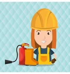 Worker fire extinguisher boots vector