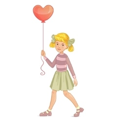 Girl with balloon in shape of heart in hand vector image vector image