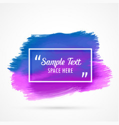 blue purple watercolor stain background with text vector image vector image