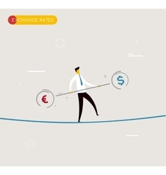 Businessman walking on tightrope balancing vector image