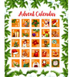 Christmas advent month days calendar design vector