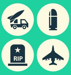 Combat icons set collection of slug rip vector