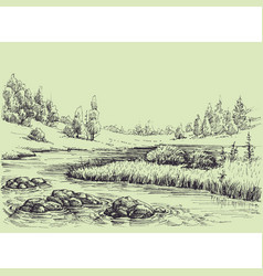 river flow nature landscape vector image
