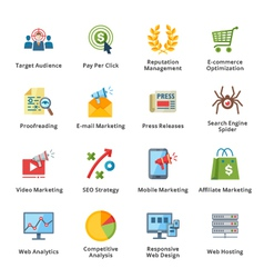 SEO and Internet Marketing Flat Icons - Set 3 vector image vector image