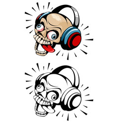 two skulls with headphones vector image vector image