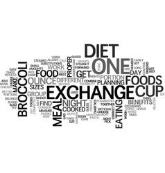 benefits of the exchange diet text word cloud vector image vector image