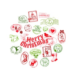 Christmas Card with Postage Stamps vector image
