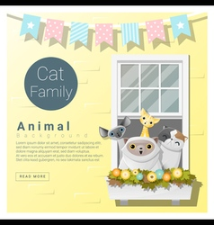 Cute animal family background with cats 4 vector