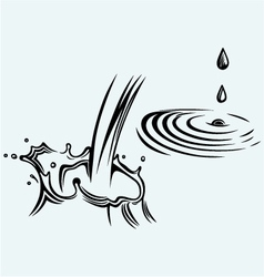 Rain drops rippling in puddle vector image