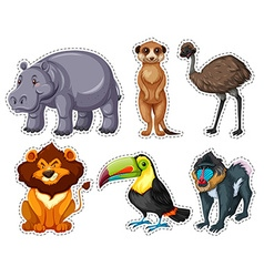 Sticker set with many animals vector image