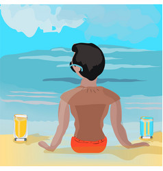 boy is watching to the sea with two glasses on the vector image vector image