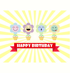cute pastel flower emoji happy birthday card vector image vector image