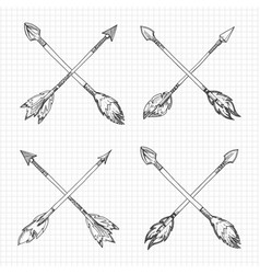 hand drawn arrows cross vector image vector image