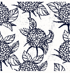 ink hand drawn seamless pattern with chrysanthemum vector image