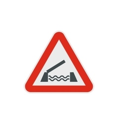 Lifting bridge warning sign icon flat style vector image