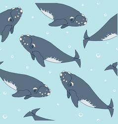 seamless pattern with whales vector image