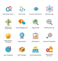 SEO and Internet Marketing Flat Icons - Set 4 vector image