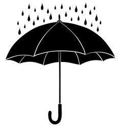 Umbrella and rain silhouettes vector