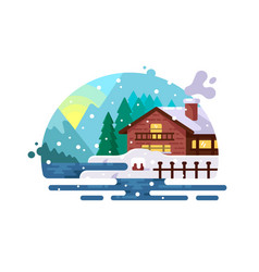 wooden house on lake shore vector image vector image