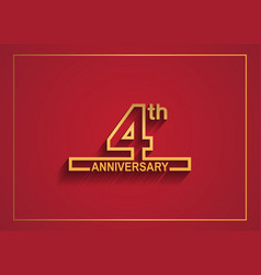 4 anniversary design with simple line style vector