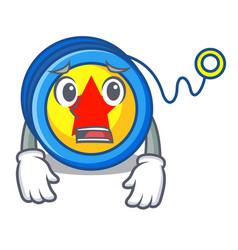 Afraid yoyo mascot cartoon style vector