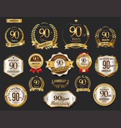 anniversary golden laurel wreath and badges 90 vector image