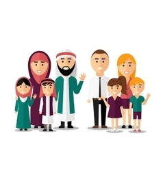 Arab and european happy families set of vector image