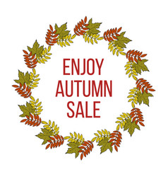 autumn fall sale poster with color leaves vector image