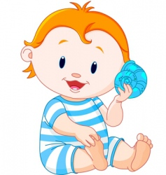 baby listen to sea shell vector image