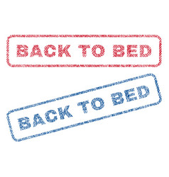 Back to bed textile stamps vector