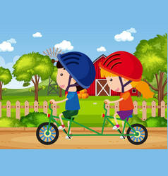 background scene with kids riding bike in park vector image