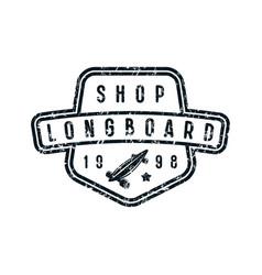 badge longboard shop vector image