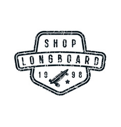 badge of longboard shop vector image