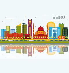 Beirut lebanon skyline with color buildings blue vector