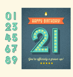 Birthday card with 3d light bulb numbers vector
