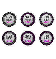 black friday sale round banner with advertising vector image