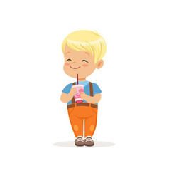 Blond toddler boy with happy face expression and vector