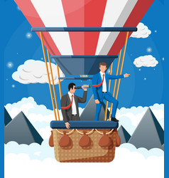 business people on air balloon vector image
