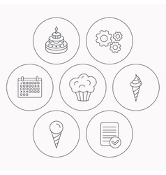 Cake ice cream and muffin icons vector image